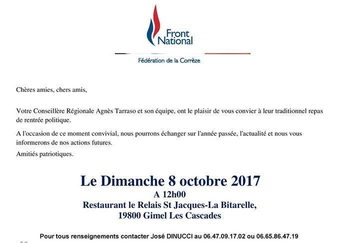 Invitation repas patriote - rentrée politique FN Corrèze