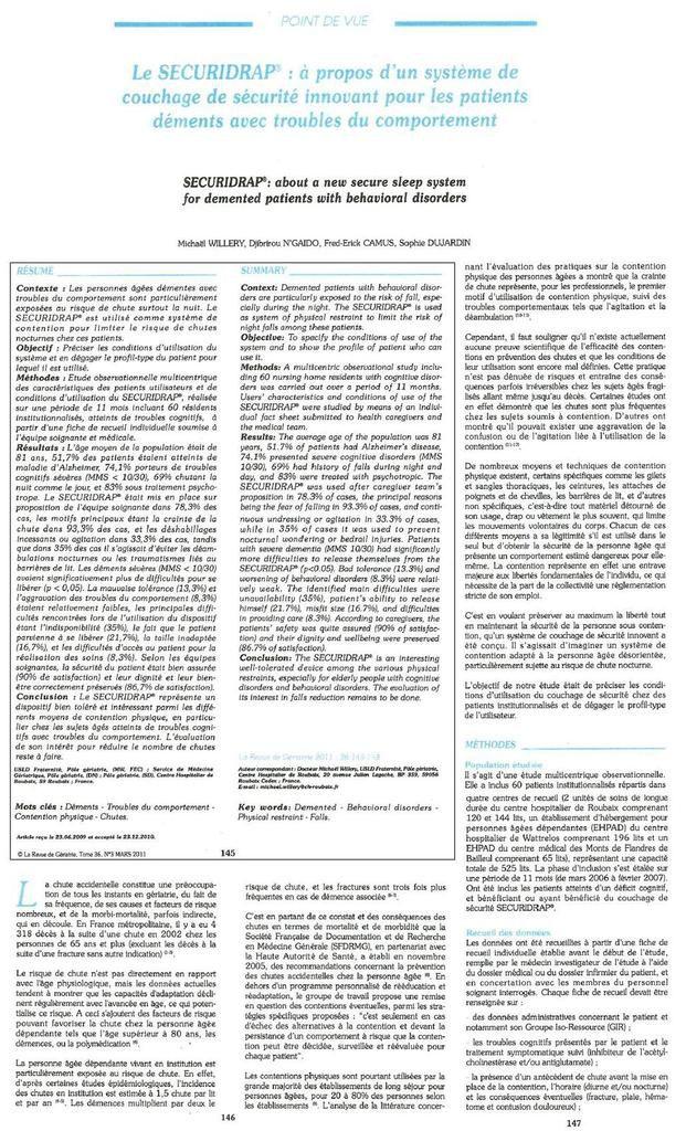 La Revue de Gériatrie © » tome 36 n°3 mars 2011 concernant le Sécuridrap 1