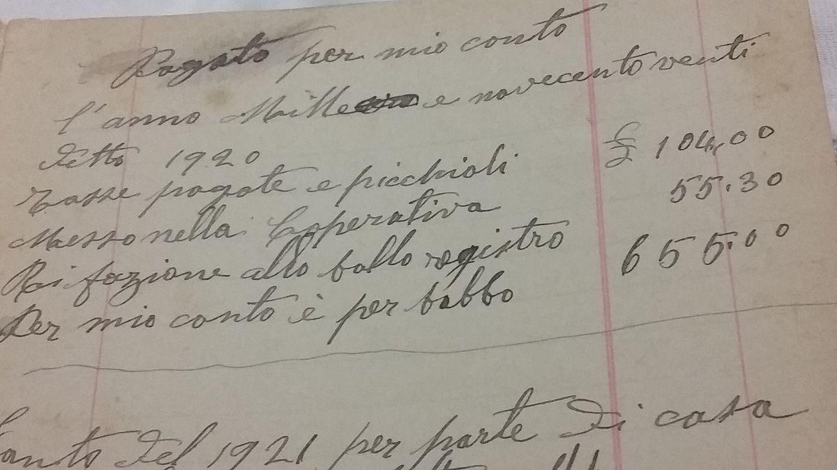 Pagine di diario del 1920 che attestano l'esistenza di una Cooperativa di consumo a Vallo di Nera.