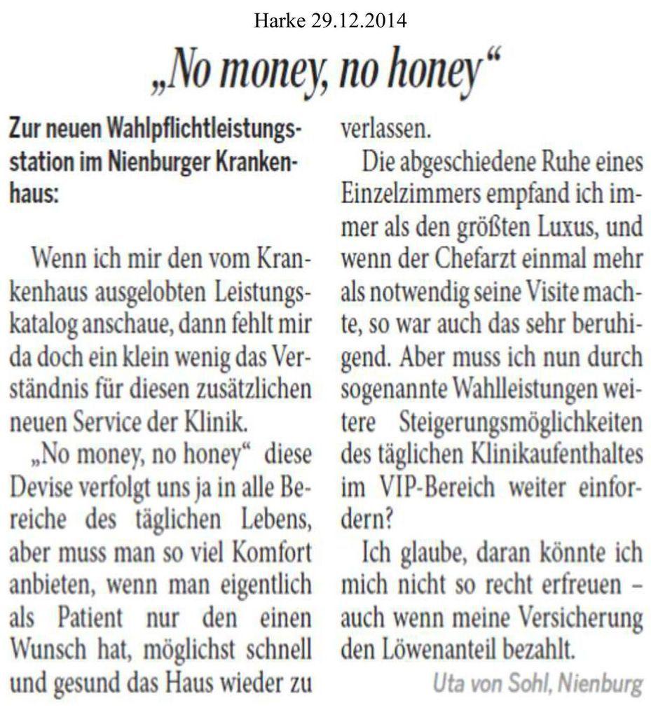 Harke 29.12.14 --  Leserbrief zu VIP-Wahlleistungen in Helios-Klinik Nienburg