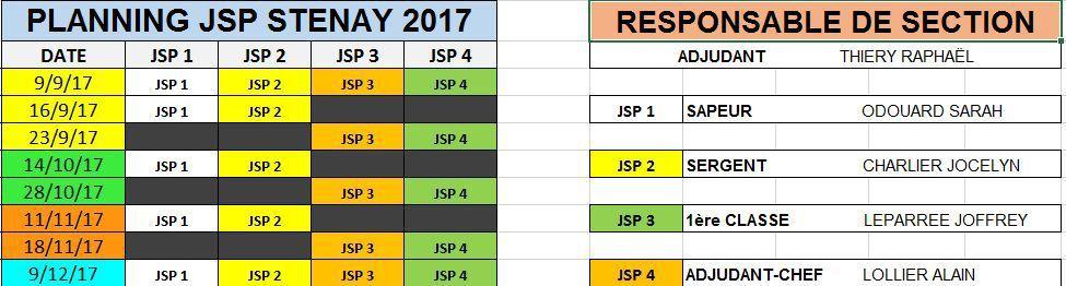 PLANNING JSP STENAY 2017