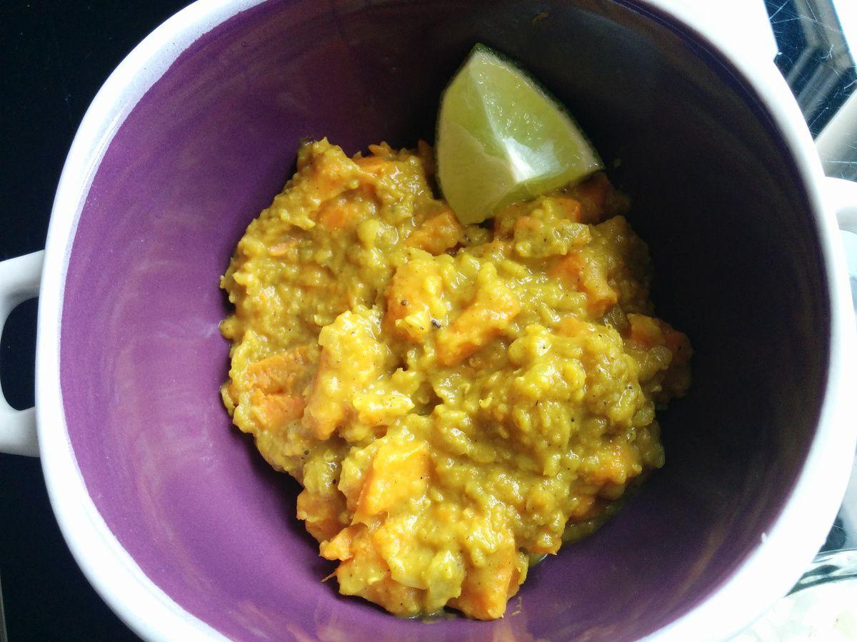 Dhal de patate douce lentille corail