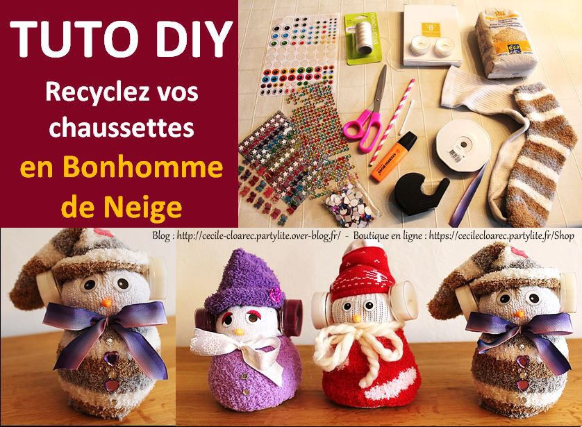 vid o youtube tuto diy recyclez vos chaussettes en bonhomme de neige avec cache oreilles. Black Bedroom Furniture Sets. Home Design Ideas
