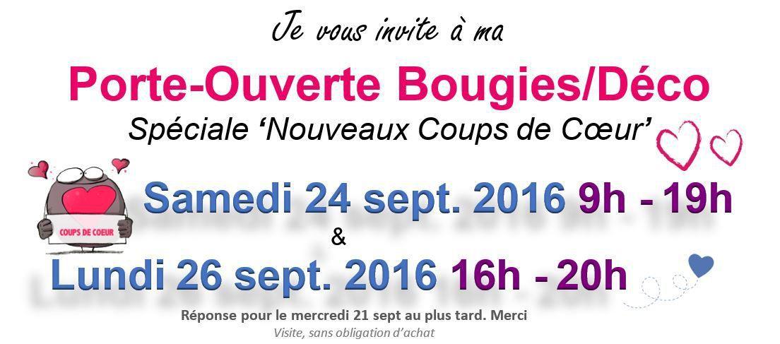 Porte-Ouverte Bougies/Déco : 24 & 26 sept. 2016