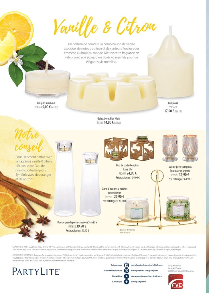 PartyLite diffuseur 6 bougies v06272 fRAISE rHUBARBE