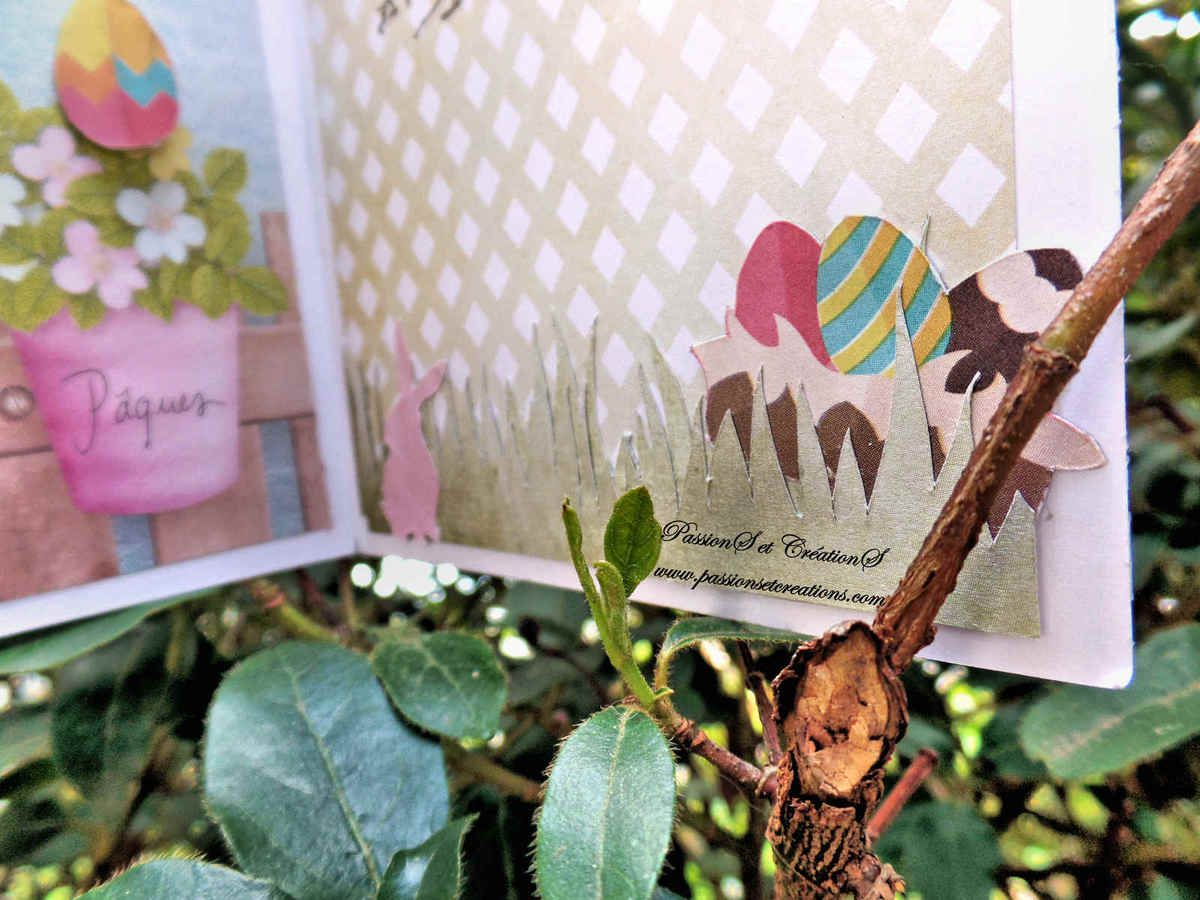 Carte - Pâques - Femme - 2017 - Lapin - Origami - Strass - Noeud - Oeufs - Panier - Herbe - Fleurs