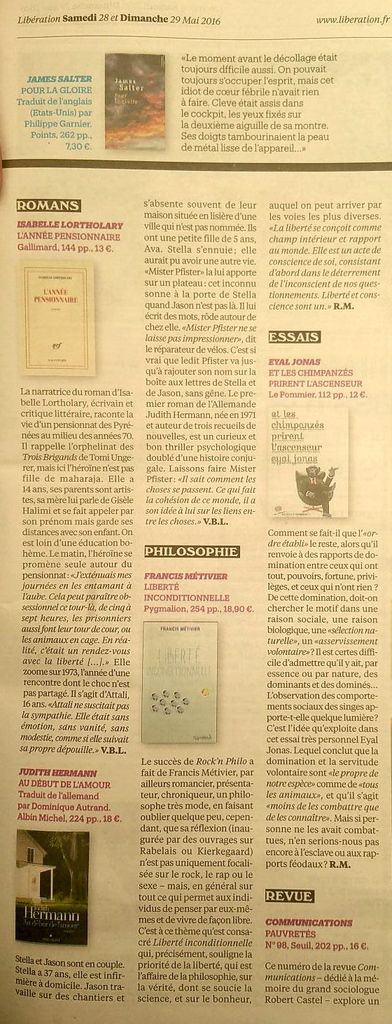 Article &quot&#x3B;Liberté inconditiononelle&quot&#x3B; de Robert Maggiori, Libération