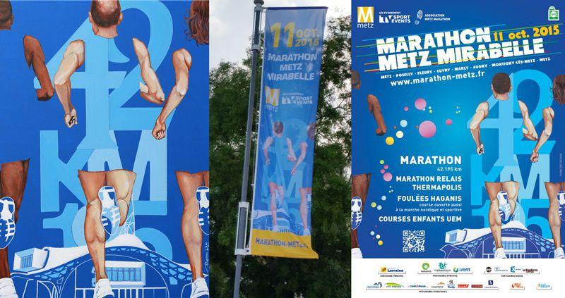 Le tableau, les kakémonos, l'affiche officielle du Marathon de Metz
