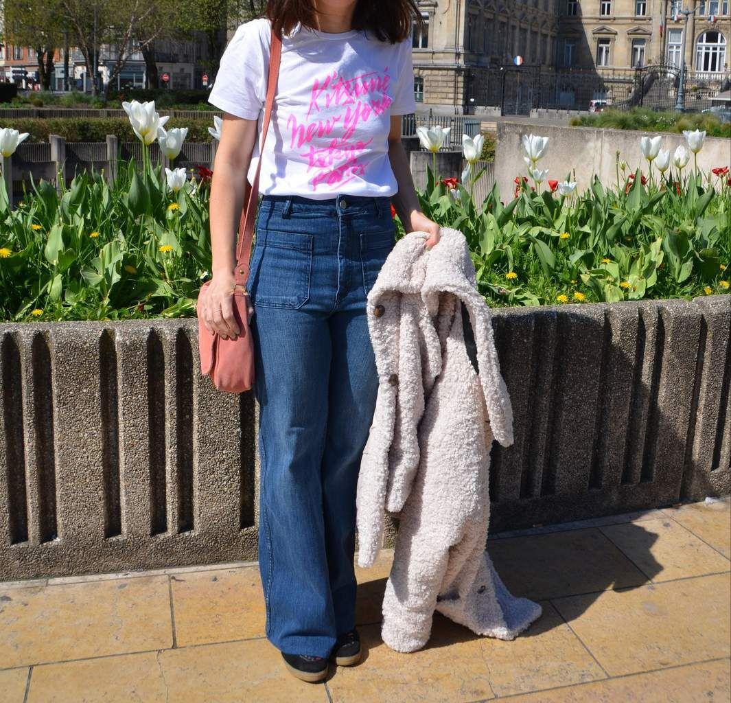 Enfin le jean flare, manteau nounours et Kitsuné