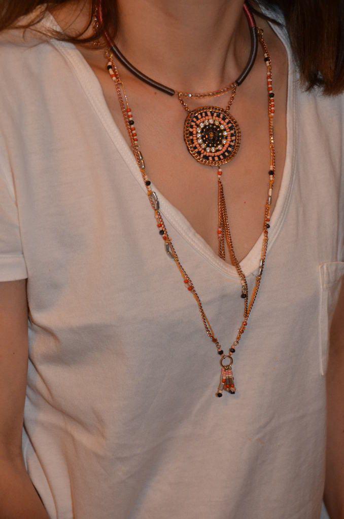 Collier et bracelet ethniques, sandales Bobbies et Primark Créteil