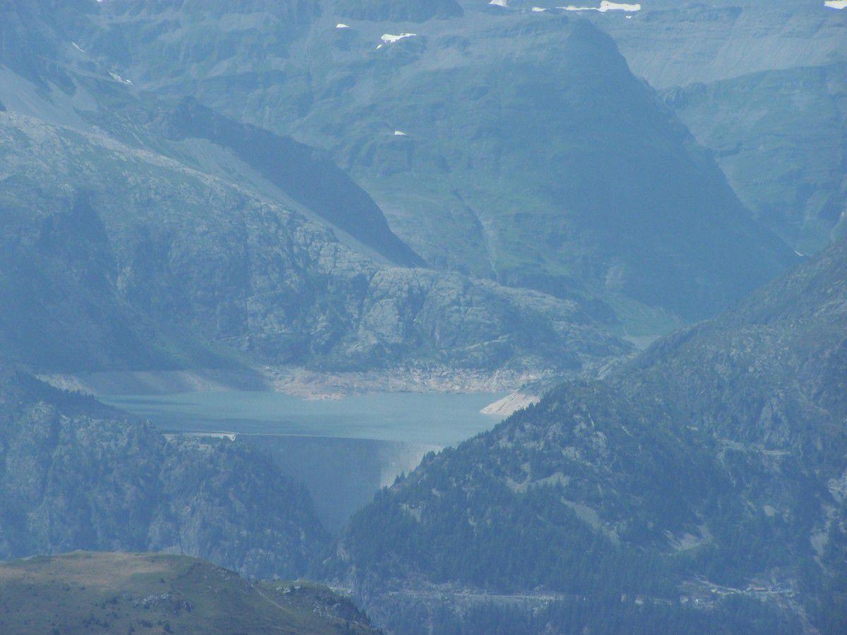 Notre itinéraire de descente depuis le sommet...avec un zoom sur le lac et barrage d'Emosson