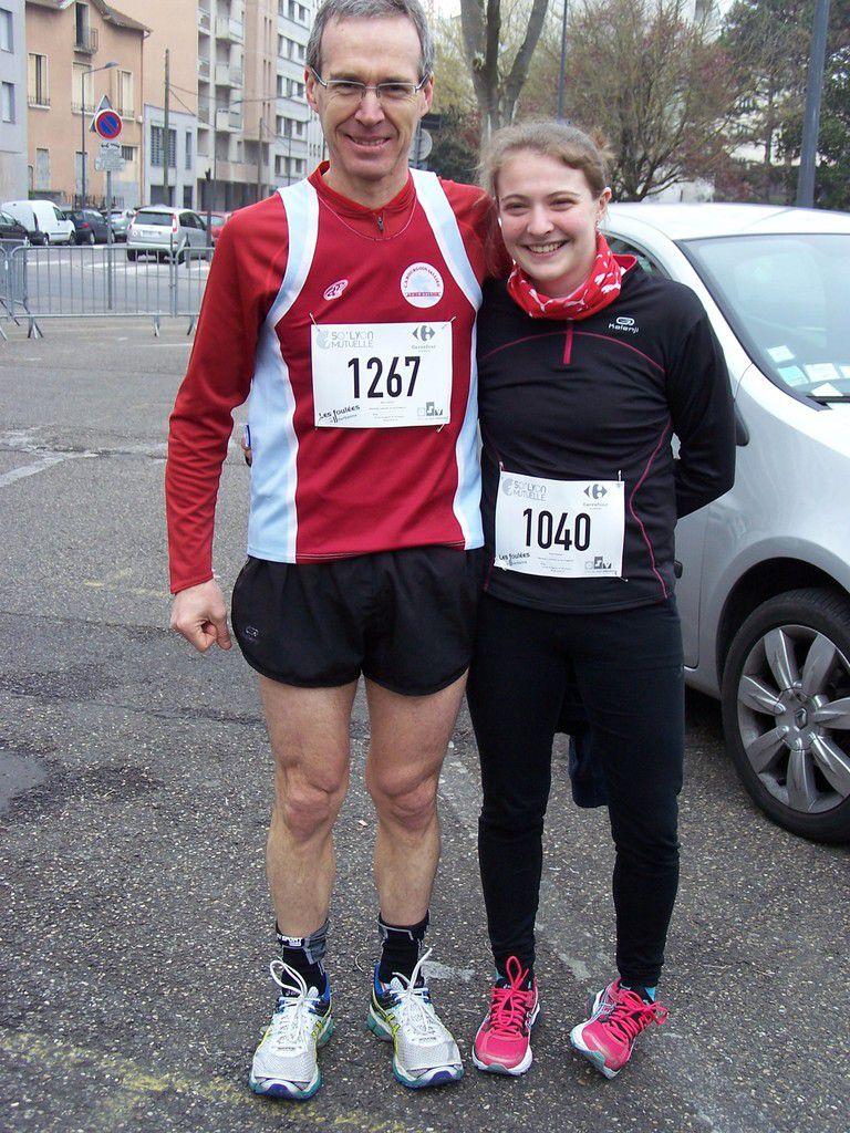 """Trail """"Pralo vue du ciel""""  /  Avec ma fille Jessica à Villeurbanne /   Marathon de la Rochelle"""
