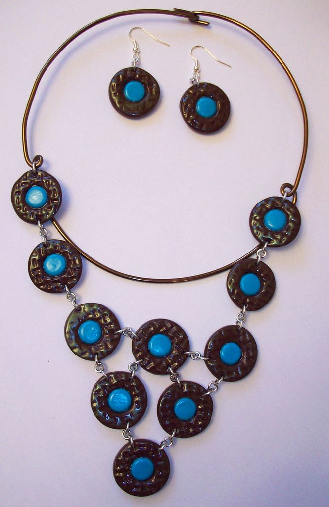 Collier chocolat turquoise