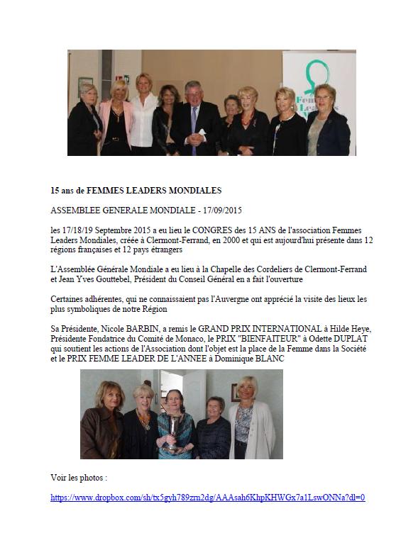 15 ans de Femmes Leaders Mondiales