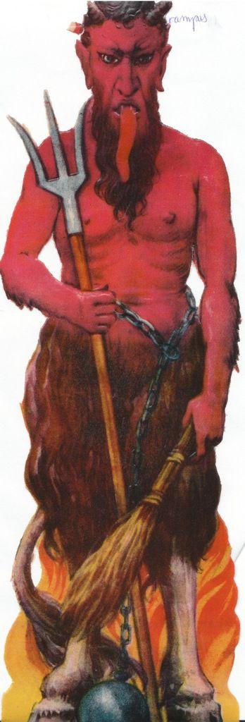 """une image de pain d'épice du diable """"Krampus"""" père fouettard  image datée de 1930."""
