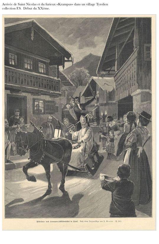 Nikolaus entre dans un village tyrolien avec le furieux Krampus (père fouettard) image début du XXème siècle.