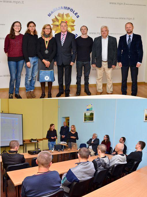 L'accueil des artistes (Judith Lesur + Lukas Holm) et des partenaires (Gallerie Meno Parkas & Musée de Kaunas) par la direction de la prison de Marijampolé
