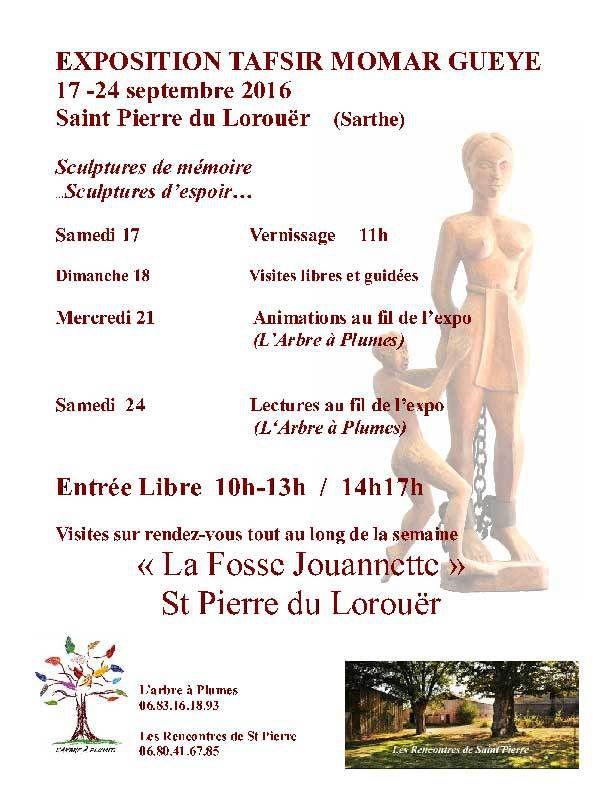 Exposition:  &quot&#x3B;sculptures de mémoire et d'espoir&quot&#x3B;