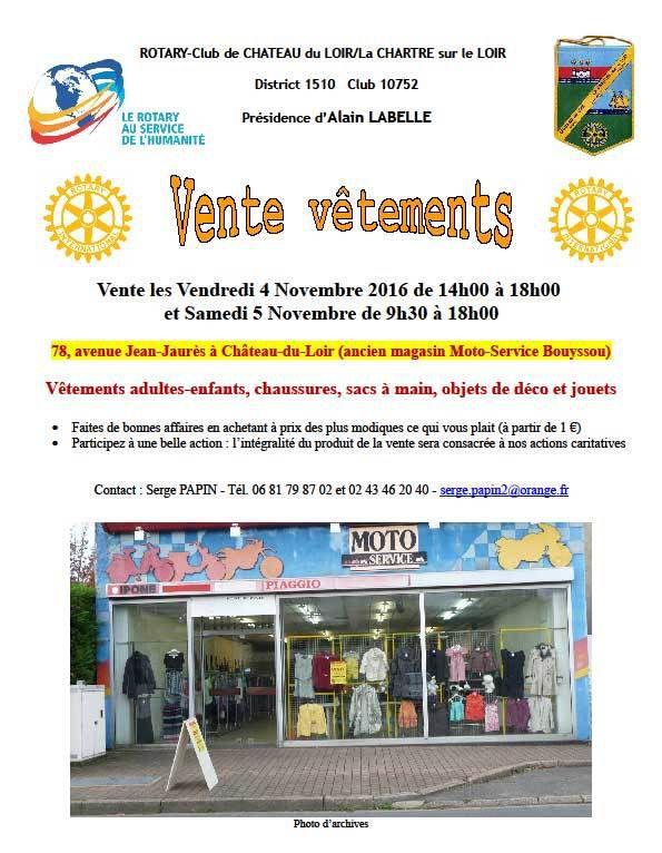 Vente de vêtements par le Rotary-Club