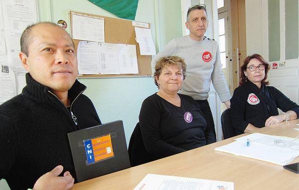 De g. à d. : Ngoun Trem (CNI), Simone Dutheil (SUD), Philippe Péretti (CGT) et Françoise Gaillard (CGT). Photo A.M.