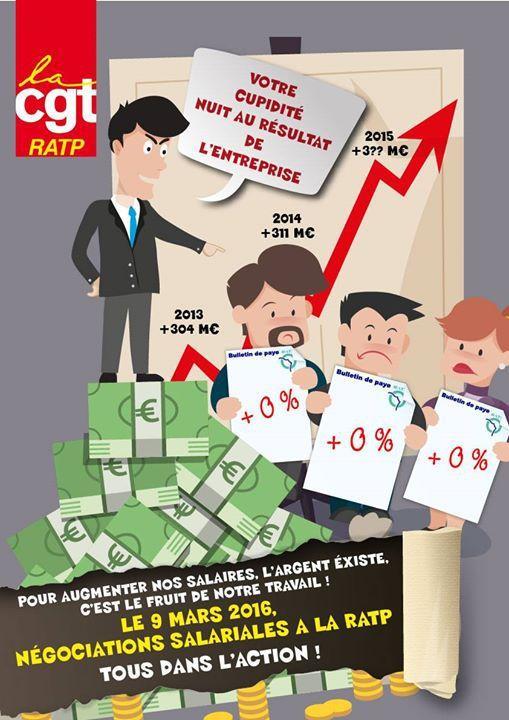 La RATP dans l'action le 7 mars pour les salaires !