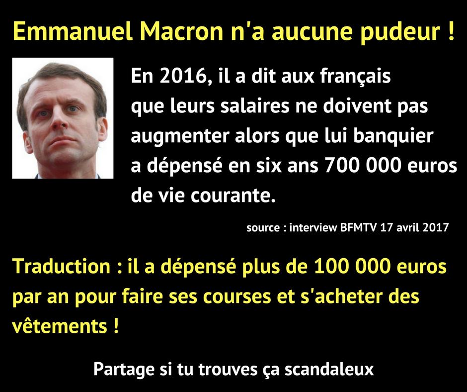C'est impossible à Macron de comprendre les réalités vécues par la masse des français !