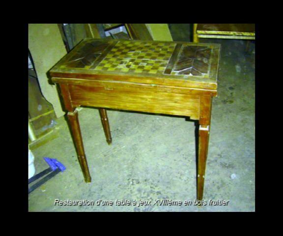 Table à jeux placage merisier