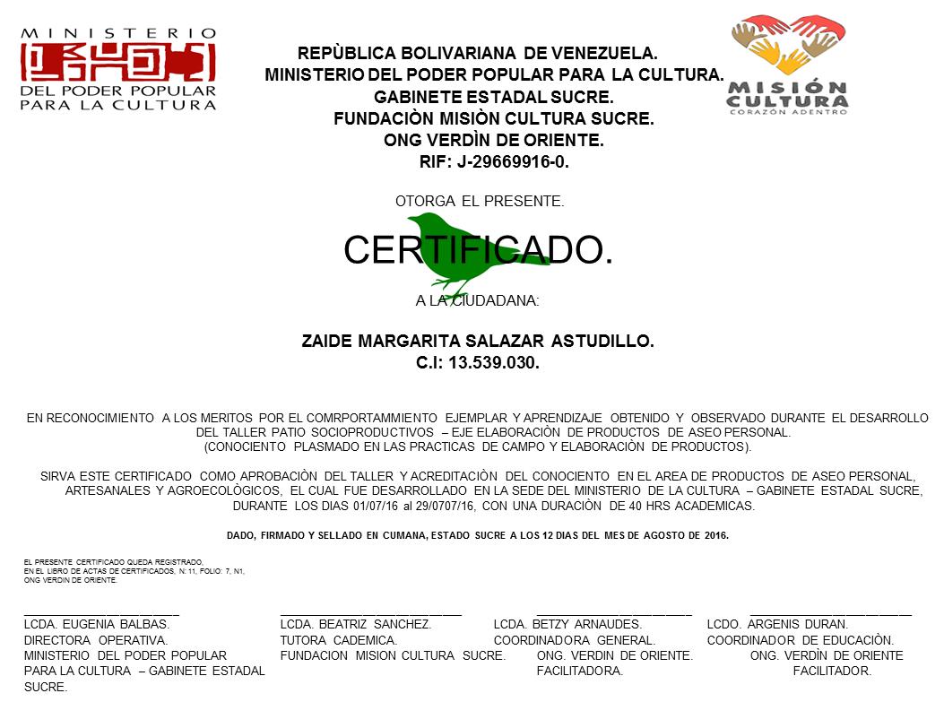 ACREDITACIÓN DE SABERES - TALLERES PATIOS SOCIOPRODUCTIVOS - ONG VERDIN DE ORIENTE - MINISTERIO DE LA CULTURA.