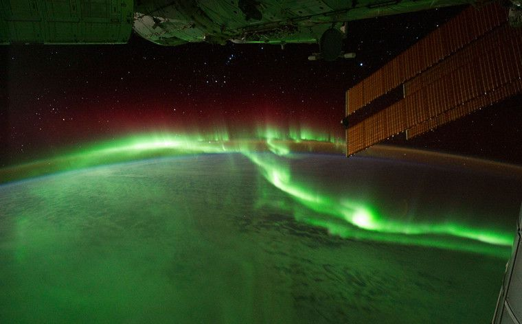 L'Aurore Australe, capturée par les astronautes de la Station Spaciale Internationale. © NASA Earth Observatory