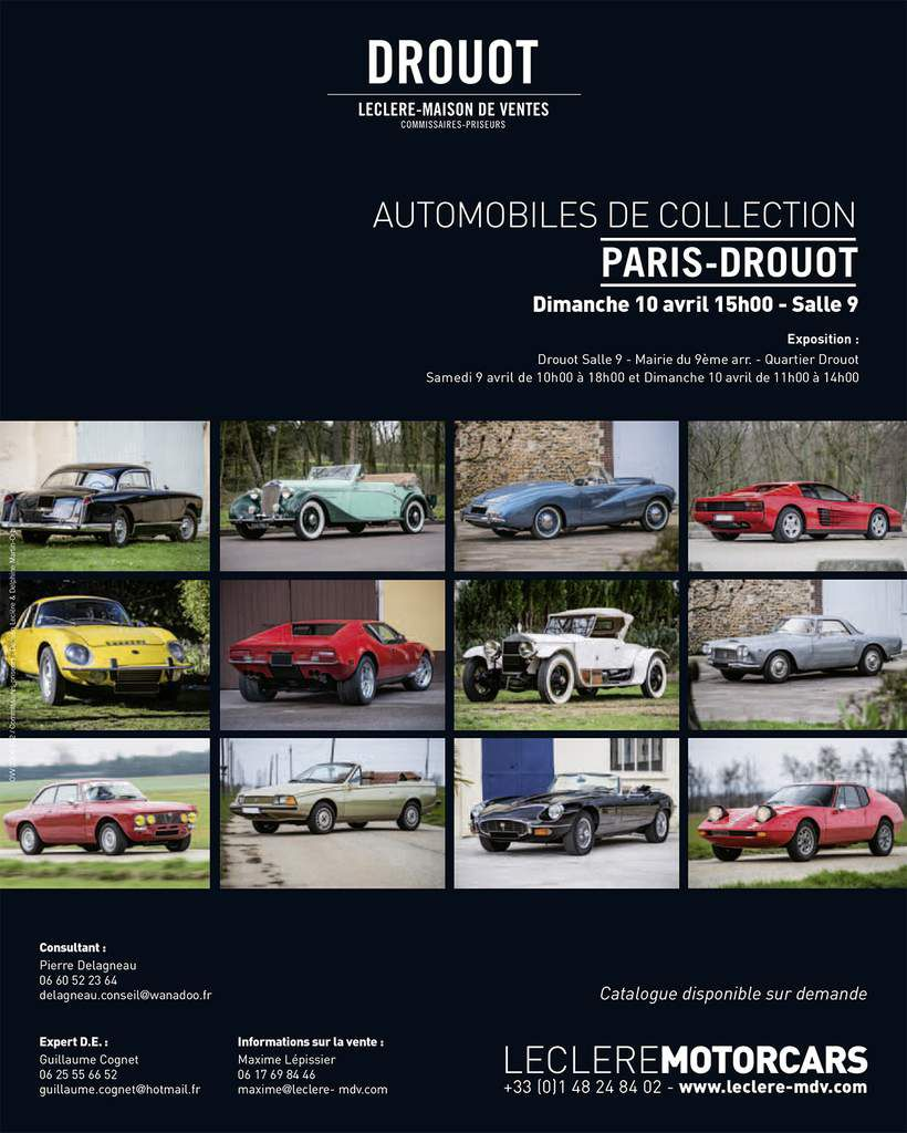 VENTE INAUGURALE AUTOMOBILES DE COLLECTION - PARIS – DROUOT Dimanche 10 avril – 15h00