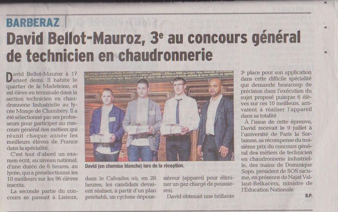 Bravo et Félicitations à David Bellot Mauroz