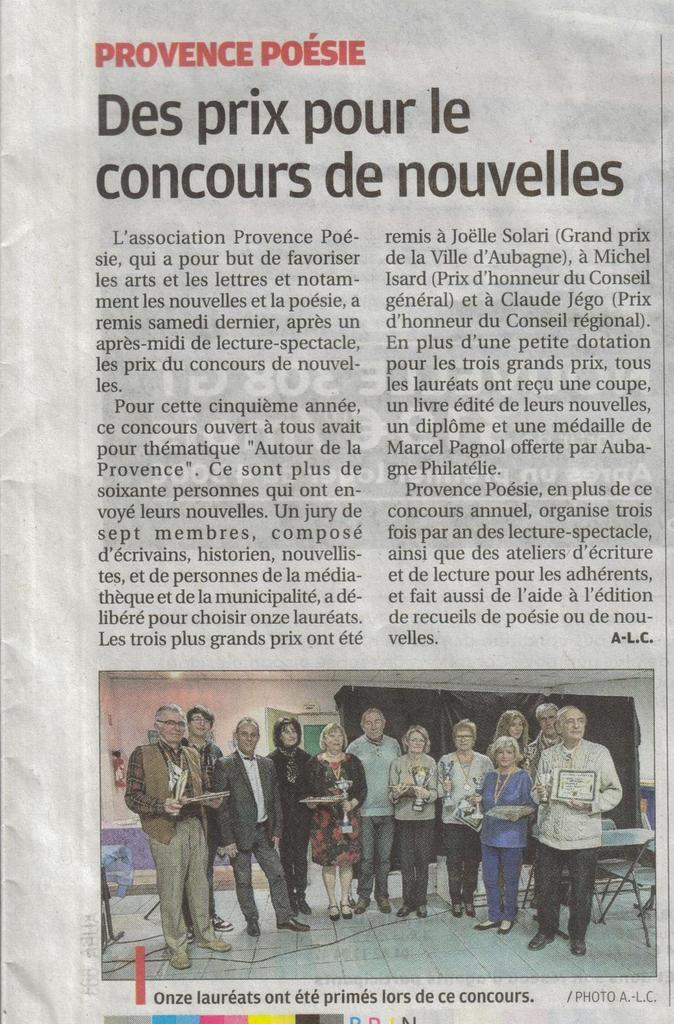 article paru dans le journal La Provence le 21 mars