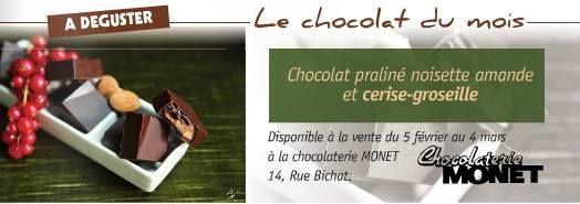 Chocolat au praliné amande noisette cerise groseille