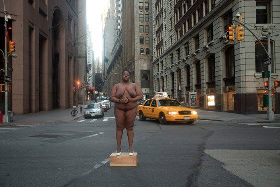 From Her Body Sprang Their Greatest Wealth @ Nona Faustine. autoportrait Wall Street