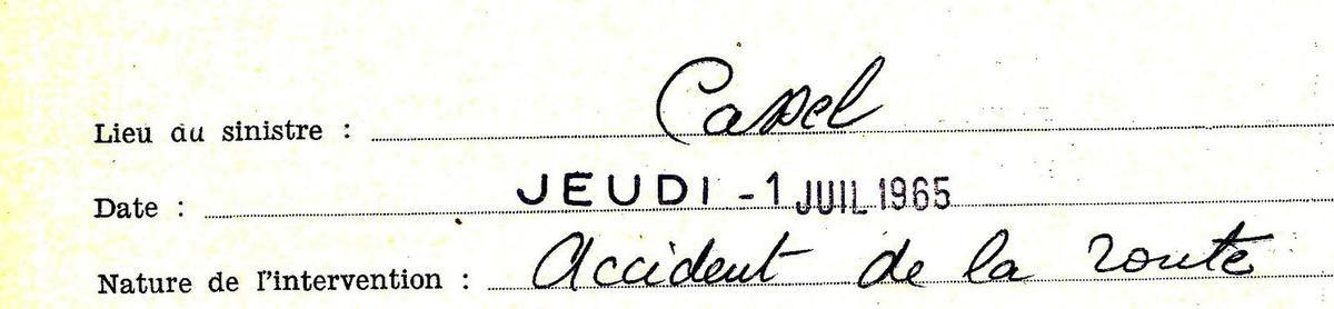 Juin 1965 - 50 ans - Invraisemblable.... 12 accidents de la route à la suite...