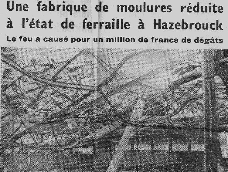 Immense &quot&#x3B;feu de fabrique de moulures en bois&quot&#x3B;  Rétrodécalage de 50 ans - 16 août 1965 -
