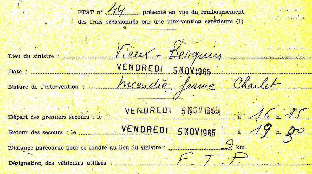 Rétrodécalage 50 ans - Feu de ferme à Vieux Berquin - 5 novembre 1965 -