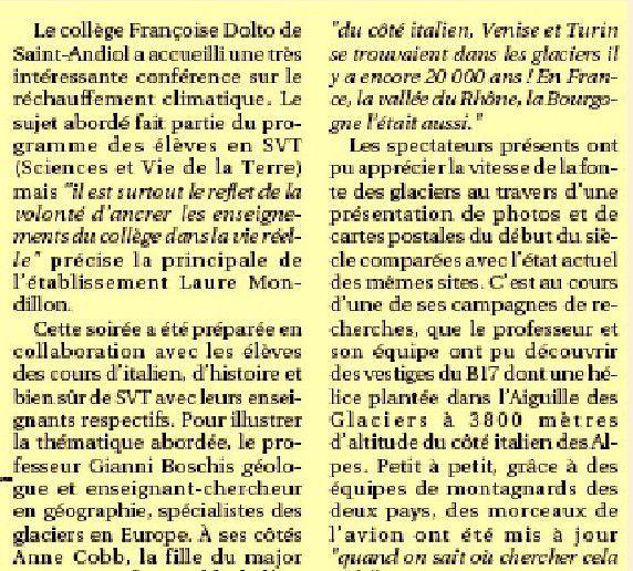 La fonte des glaciers alpins par le professeur de géologie Gianni Boschis , un des &quot&#x3B;pères&quot&#x3B; du B 17 du Mont Blanc.