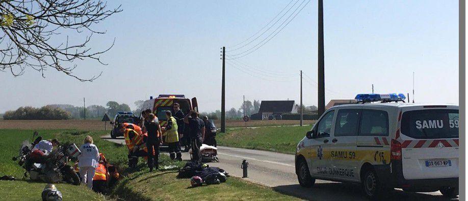 Wormhout  Deux motards blessés dans une perte de contrôle