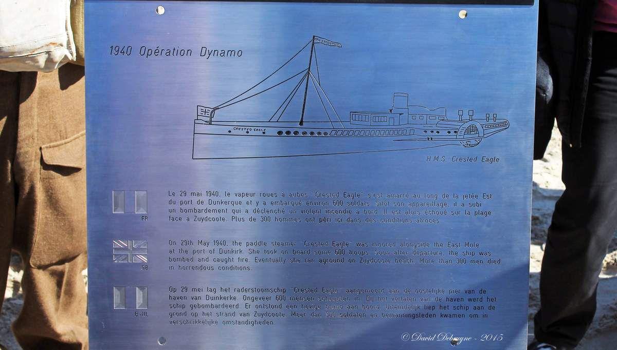 75 ans du crested Eagle (épave d'un bateau de l'opération dynamo a zuydcoote)