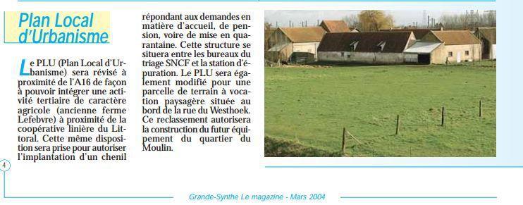 image d'un article de 2004 sur le projet de chenil et une photo  du 2 mars 2016