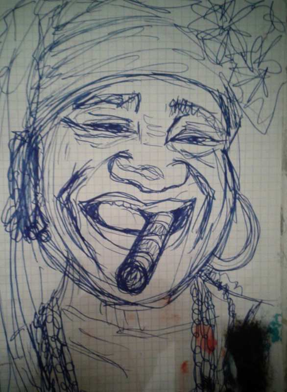 Drawing,sketch of Mama Cubana (project of painting)