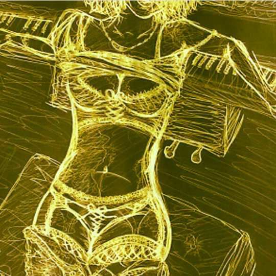 Drawing of a wild pin-up on a piano