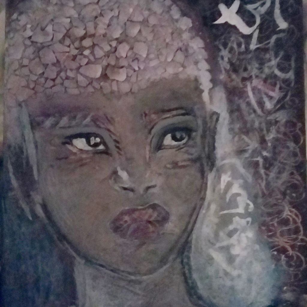 Portrait & calligraphy. Painting on canvas,  collage : eggshell,  pearls