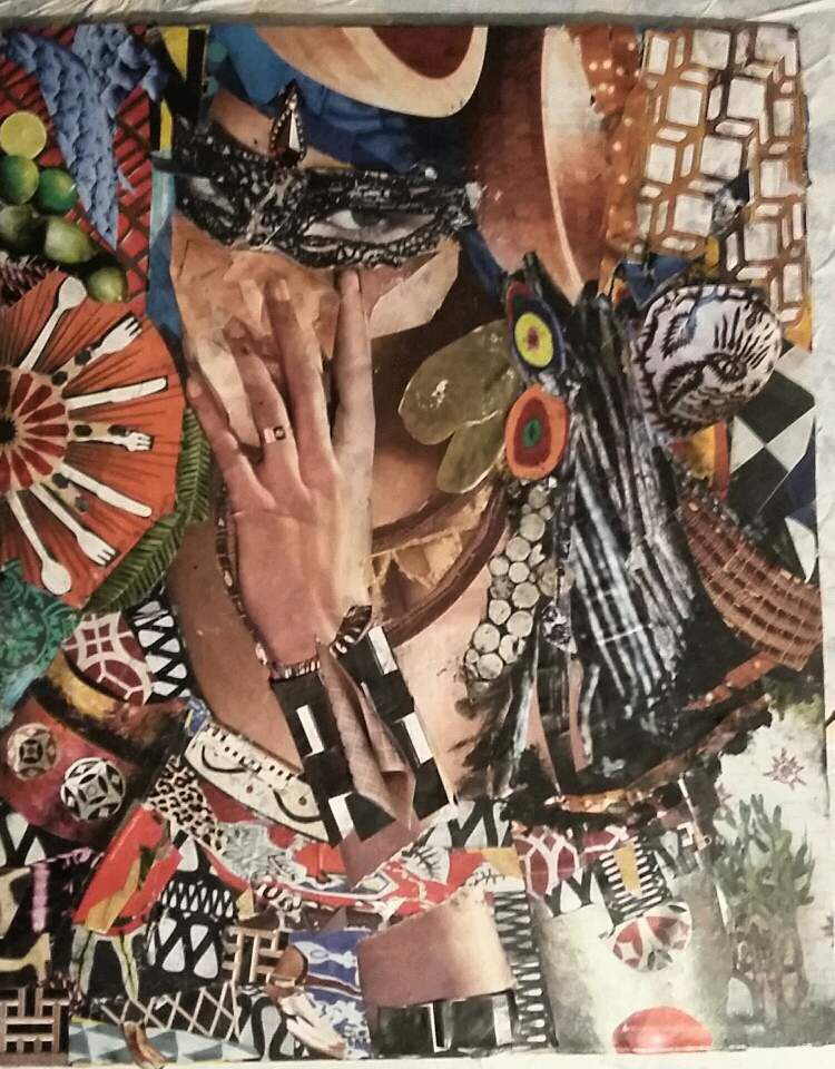 Collage and painting on canvas