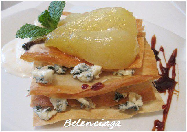 milhojas pera queso azul