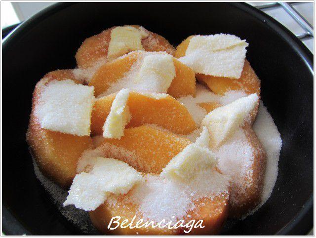 tarta de crema arroz melocoton asado