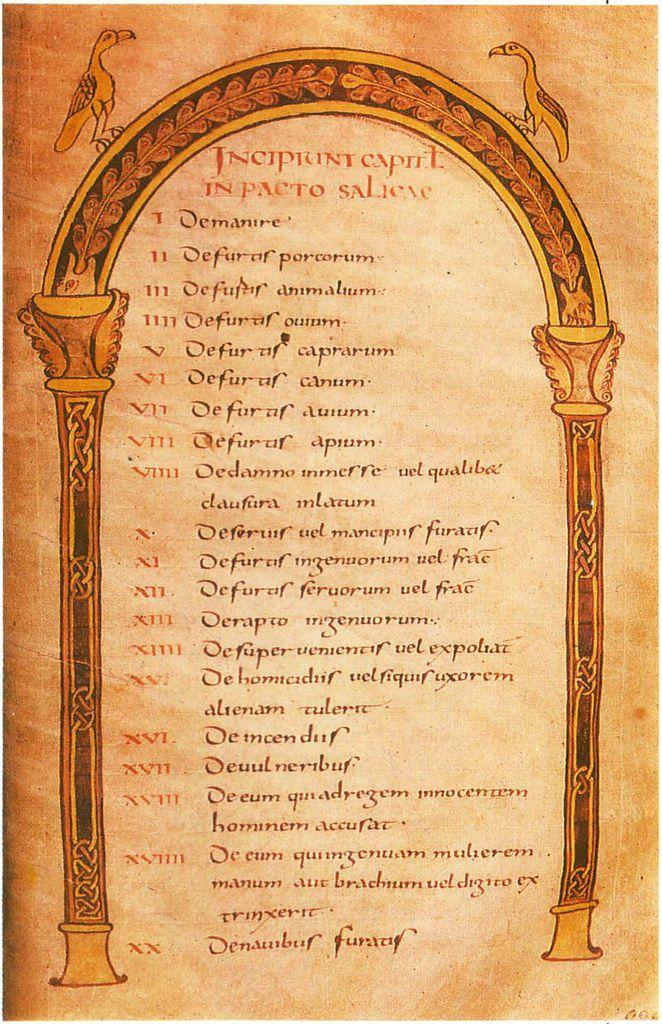 Copie manuscrite sur velin du VIIIe siècle de la loi salique