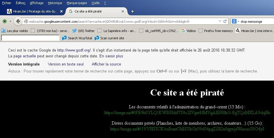 piratage du site internet et extranet de la secte maçonnique du Grand Orient de France (GODF)