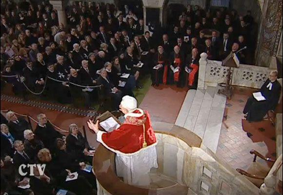 Ratzinger au temple hérétique protestant luthérien de Rome (le 14/03/2010)